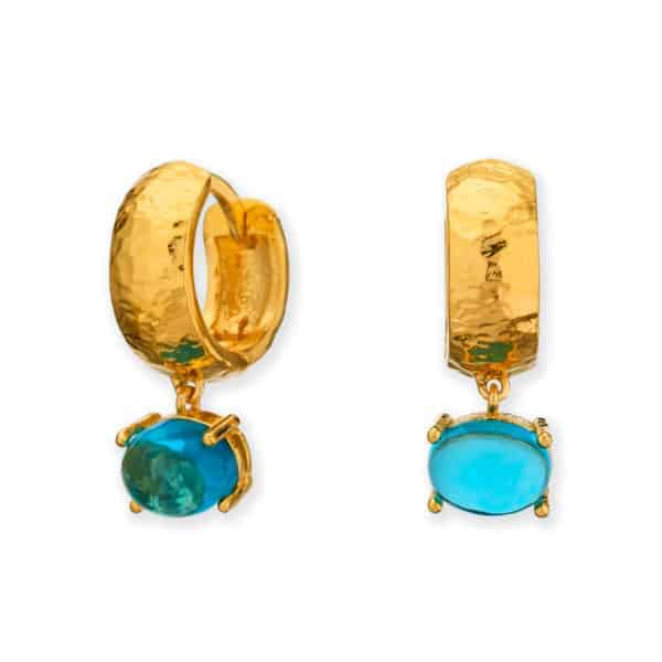 Maviada's Bastia hoop earrings in 18ct Yellow Gold Vermeil with 6x8mm London Blue Quartz oval cabochon stone