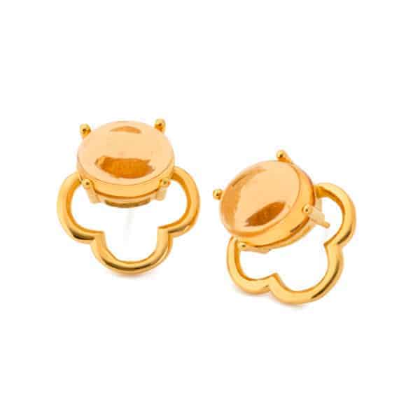 Maviada's Capri stud earrings in 18ct Yellow Gold vermeil with 10x12mm Champagne Quartz cabochon stone