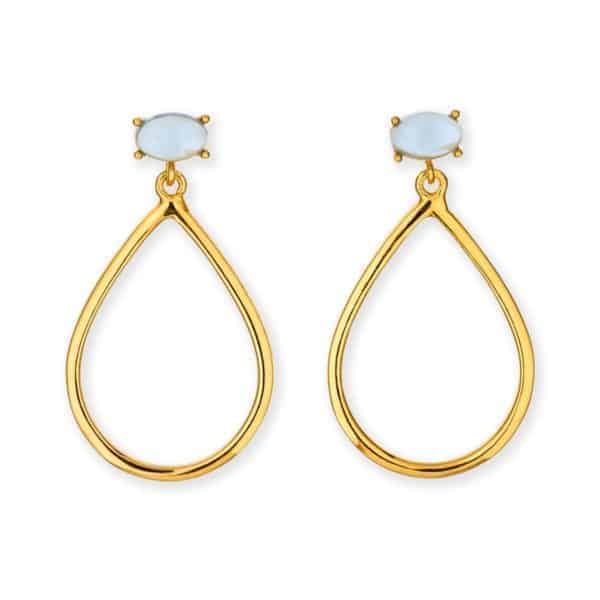 Maviada's Antibes Single drop earrings in 18ct Yellow Gold Vermeil with 4x6mm Tanzanite Quartz cabochon stone