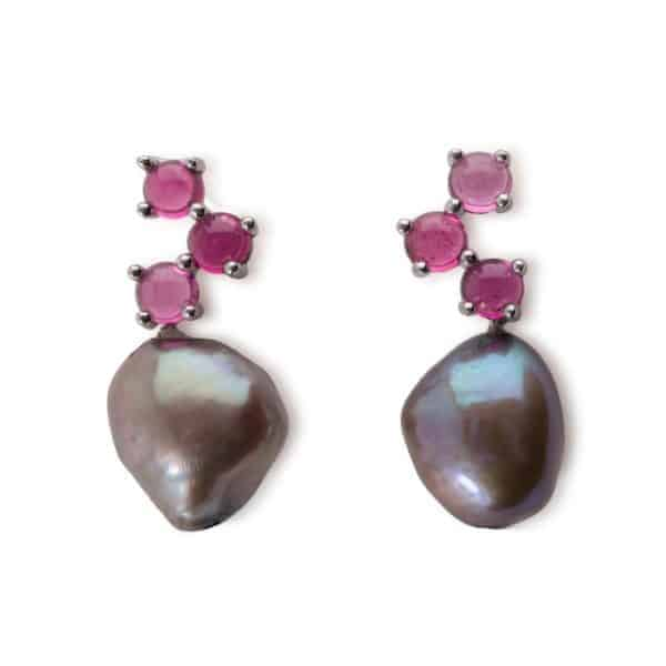 Maviada's Cavallo drop earrings in 18ct White Gold with Freshwater Grey Baroque Pearl and 3x4mm Pink Tourmaline round cabochon stones