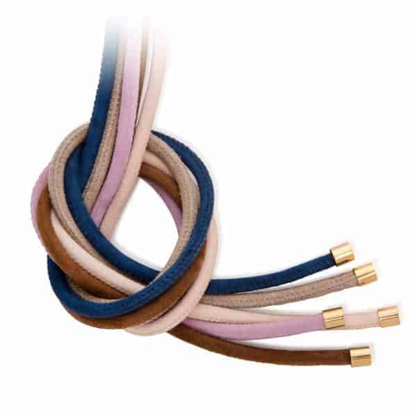 Maviada's 4mm leather jewellery cords with yellow gold plated stainless steel end caps, pack of 5 neutral colours including Taupe, Light Beige, Chocolate Brown, Light Aubergine, and Midnight Blue