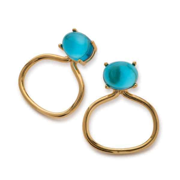 Maviada's Taormina drop earrings in 18ct Yellow Gold Vermeil with 8x10mm London Blue Quartz cabochon stone