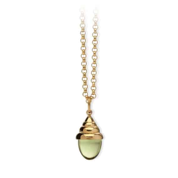 Maviada's Torba pendant with beehive design in 18ct Yellow Gold with 10x10mm Peridot Quartz bullet shaped cabochon stone.