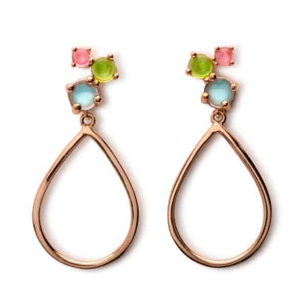 Maviada's Antibes Cascade drop earrings in 18ct Rose Gold Vermeil with 3mm Pink Toumaline Quartz, 4mm Green Amethyst Quartz, 5mm Aqua Blue Quartz