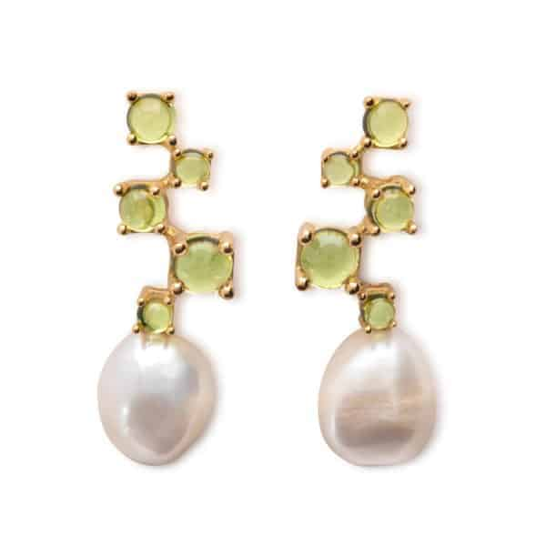 Maviada's Cavallo Cascade Five drop earrings in 18ct Yellow Gold with freshwater White Baroque Pearl and cascading 4, 3, 4, 6, and 3mm Peridot cabochon stones