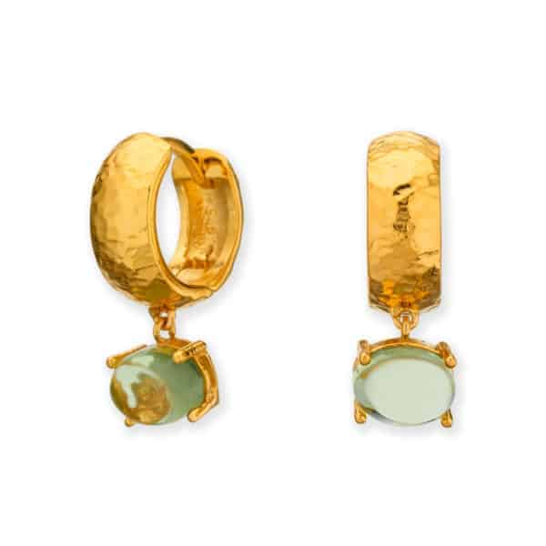 Maviada's Bastia hoop earrings in 18ct Yellow Gold Vermeil with 6x8mm Peridot Quartz oval cabochon stone