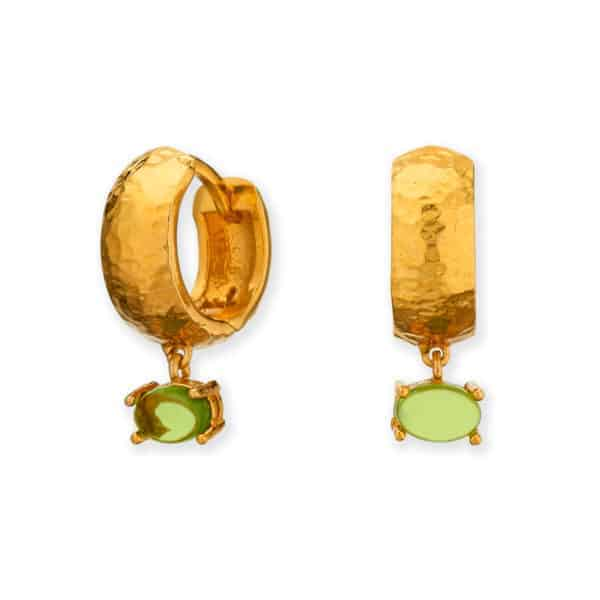 Maviada's Bastia Mini hoop earrings in 18ct Yellow Gold vermeil with Green Amethyst Quartz oval cabochon stone