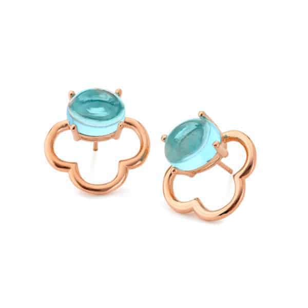 Maviada's Capri Mini stud earrings in 18ct Rose Gold Vermeil with 8x10mm Aqua Blue Quartz oval cabochon stone