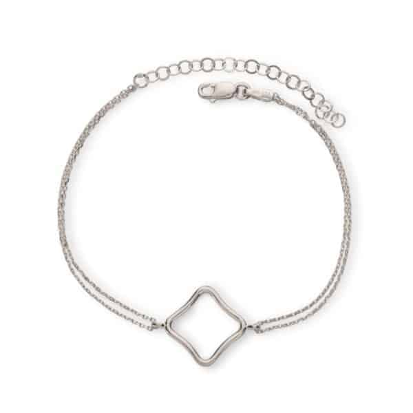 Maviada's Bodrum Bracelet Medium in Rhodium Plated Sterling Silver with 15x15mm logo design