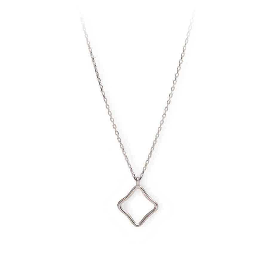 Maviada's Bodrum Necklace Small in Rhodium Plated Sterling Silver with 10x10mm logo feature