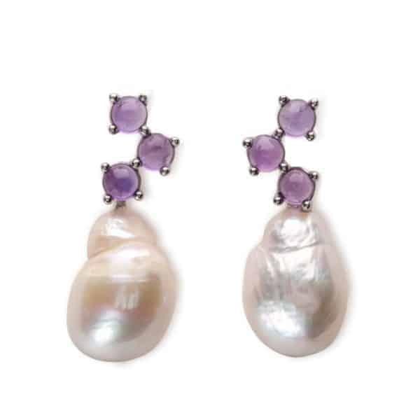 Maviada's Cavallo drop earrings in 18ct White Gold with Freshwater White Baroque Pearl and 3x4mm Purple Amethyst round cabochon stones