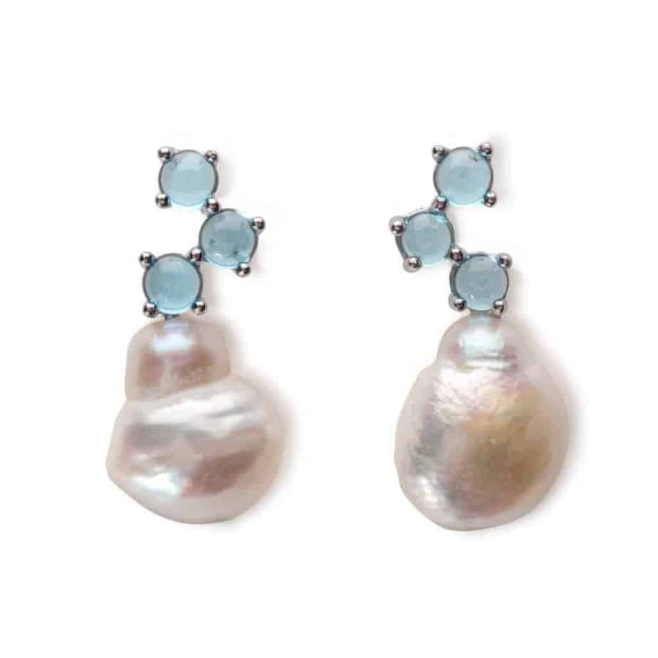 Maviada's Cavallo drop earrings in 18ct White Gold with Freshwater White Baroque Pearl and 3x4mm Swiss Blue Topaz round cabochon stones
