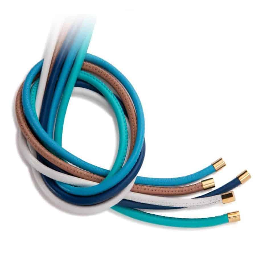 Maviada's 4mm leather jewellery cords with yellow gold plated stainless steel end caps, pack of 5 cool, fresh colours including Turquoise, Midnight Blue, Mediterranean Blue, Alpine White, and Café au Lait