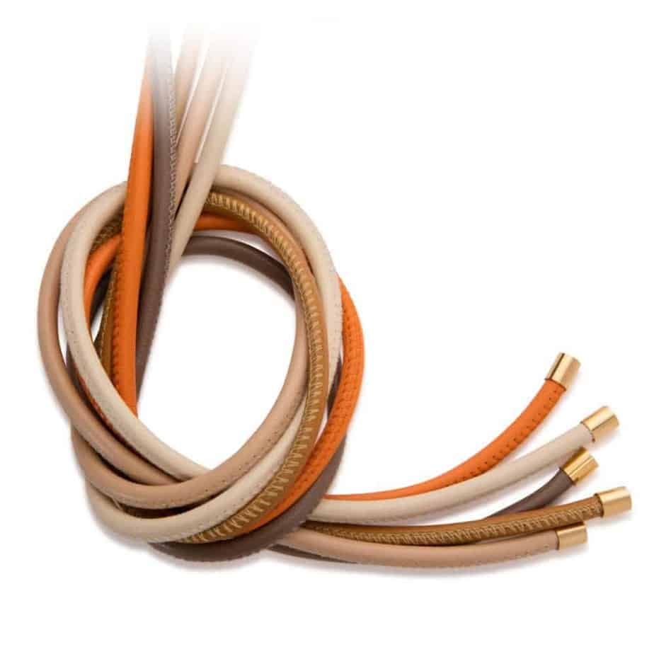 Maviada's 4mm leather jewellery cords with yellow gold plated stainless steel end caps, pack of 5 warm colours including Taupe, Light Beige, Chocolate Brown, Burnt Orange and Crème Blanc