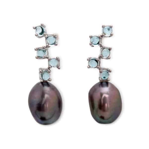 Maviada's Cavallo Long 5 Stone drop earrings in 18ct White Gold with freshwater Grey Baroque Pearl and 5 x 3mm Sky Blue Topaz cabochon stones