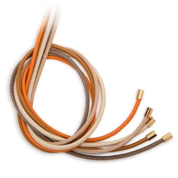 Maviada's 2.5mm leather jewellery cords with yellow gold plated stainless steel end caps, pack of 5 warm colours Taupe, Light Beige, Chocolate Brown, Burnt Orange and Crème Blanc.