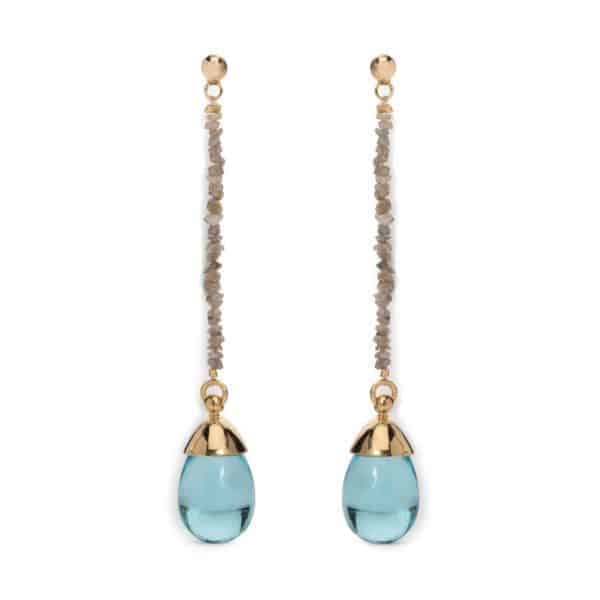 Maviada's Monte Carlo 65mm long drop earrings in 18ct Yellow Gold with Rough-cut Grey Diamonds and 8x15mm Aqua Blue Quartz teardrop cabochon stone
