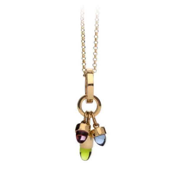 Maviada's Skopelos Charms, cluster of three in 18ct Yellow Gold with 5mm Purple and Green Amethyst Quartz, and 7mm Tanzanite Quartz bullet-shaped cabochon stones