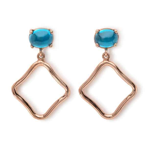 Maviada's Bodrum drop earrings in solid 18ct Rose Gold with 8x10mm London Blue Topaz oval cabochon stones