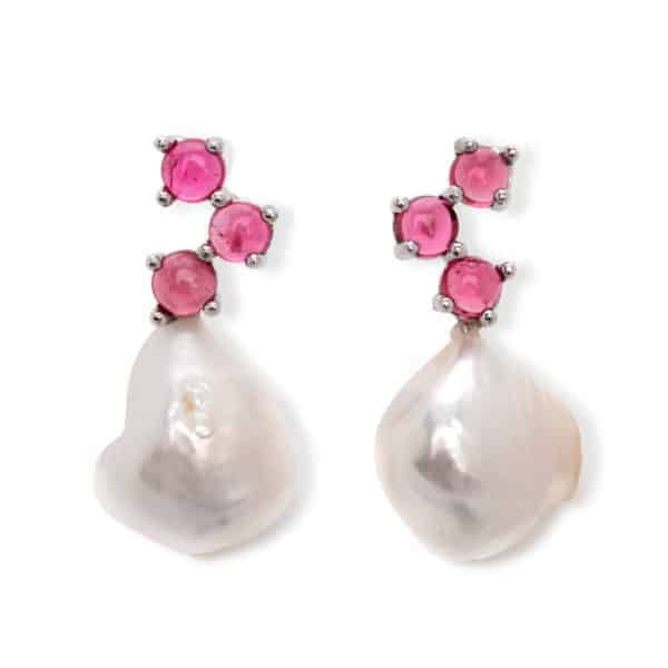 Maviada's Cavallo drop earrings in 18ct White Gold with Freshwater White Baroque Pearl and 3x4mm Pink Tourmaline round cabochon stones