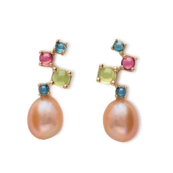 Maviada's Cavallo Cascade Midi drop earrings in 18ct Yellow Gold with freshwater Pink Baroque Pearl and cascading cabochon stones in Peridot, Pink Tourmaline, and London Blue Topaz