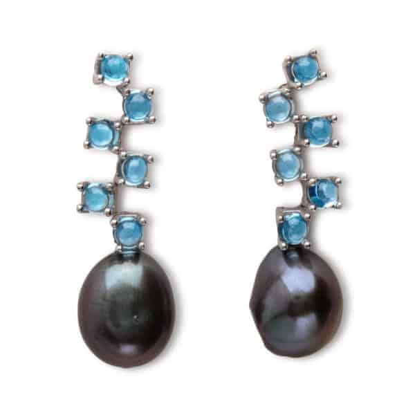 Maviada's Cavallo Long drop earrings in 18ct White Gold with freshwater Grey Baroque Pearl and six cascading 3mm Swiss Blue Topaz cabochon stones