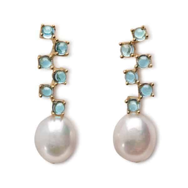 Maviada's Cavallo Long drop earrings in 18ct Yellow Gold with freshwater White Baroque Pearl and six cascading 3mm Sky Blue Topaz cabochon stones
