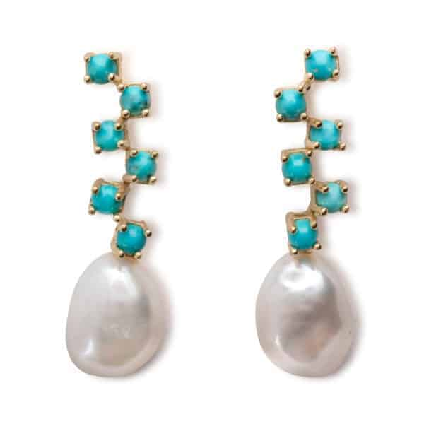 Maviada's Cavallo Long drop earrings in 18ct Yellow Gold with freshwater White Baroque Pearl and six cascading 3mm Turquoise cabochon stones