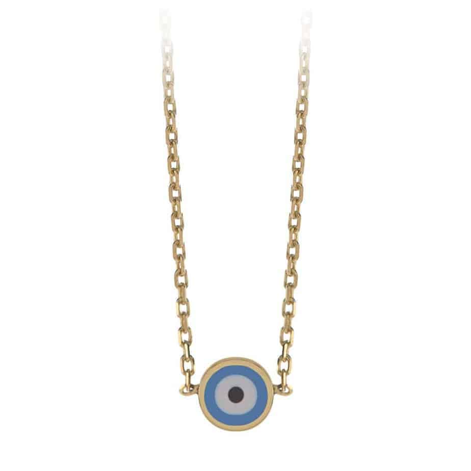 Evil eye necklace in 18kt yellow gold